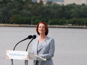 Julia Gillard speaking at the 2013 National Flag Raising and Citizenship ceremony Author: Nick-D Wikicommons CC BY-SA 3.0