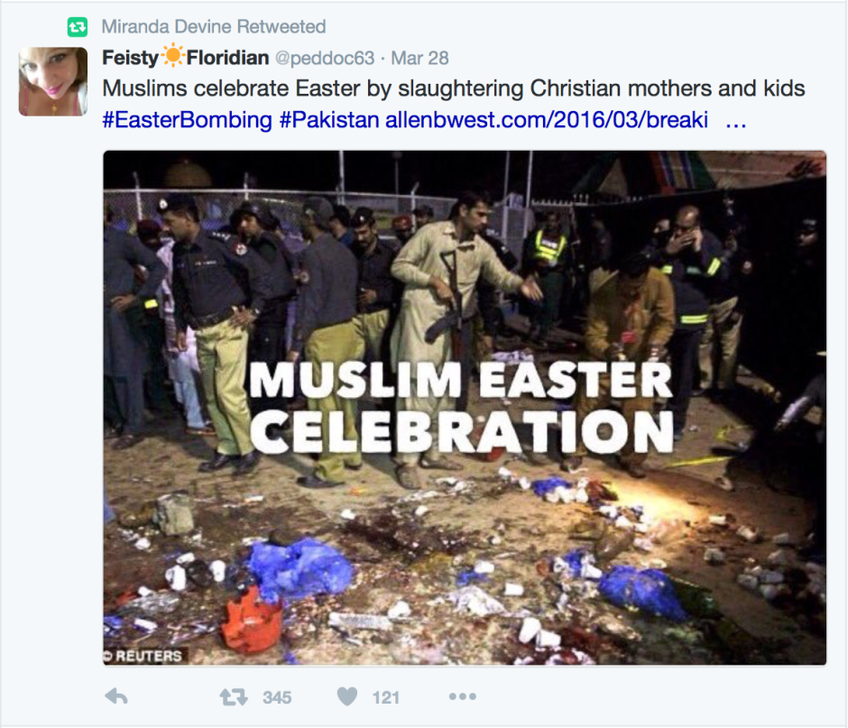 Tweets and retweets like this serve ISIS' needs in marginalising the Muslim community.