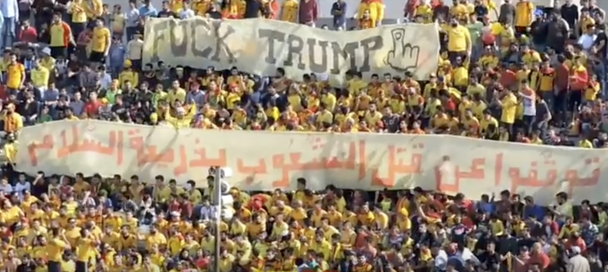 Syrian football fans send a special message to Trump after air strike